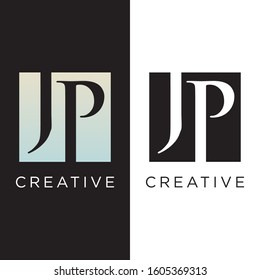 initial jp logo design,black colour and multi colour icon