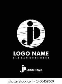 Initial JP negative space logo with circle template