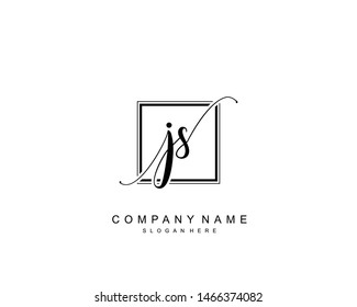 Initial JS beauty monogram and elegant logo design, handwriting logo of initial signature, wedding, fashion, floral and botanical with creative template.
