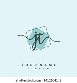 Initial JT handwriting logo template vector