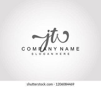 Initial JT handwriting logo vector