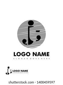 Initial JT negative space logo with circle template