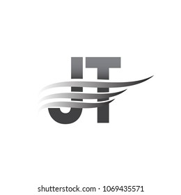 Initial JT wing logo, grey color vector logotype, logo for company name business and company identity.