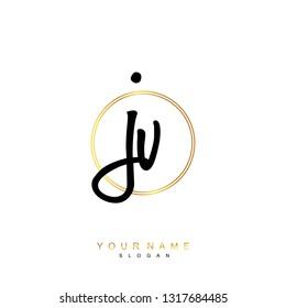 Initial JV handwriting logo vector
