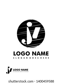 Initial JV negative space logo with circle template