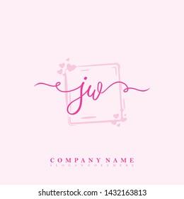 Initial JW beauty handwriting logo