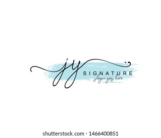 Initial JY beauty monogram and elegant logo design, handwriting logo of initial signature, wedding, fashion, floral and botanical with creative template.