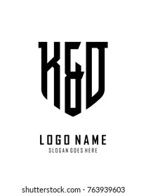 Initial K & D abstract shield logo template vector
