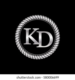 initial k and d logo silver metallic with metal circle rope frame border decorative