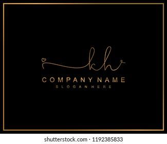 Initial K H handwriting logo template vector