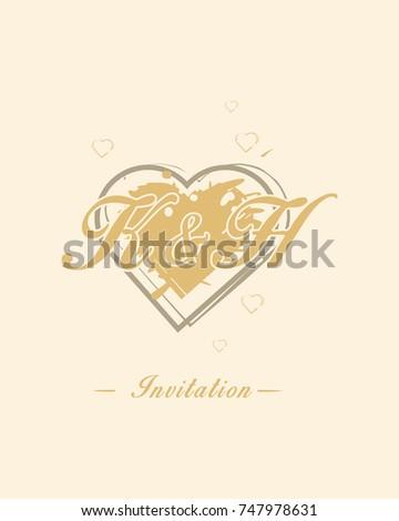 Initial K H Wedding Invitation Logo Stock Vector Royalty Free