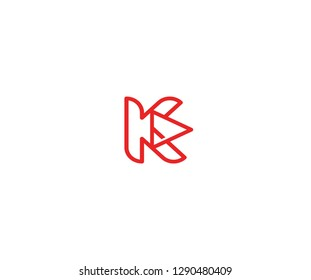 Initial K Letter Linear Red Line with Play Media Logo Design