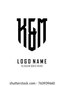 Initial K & M abstract shield logo template vector