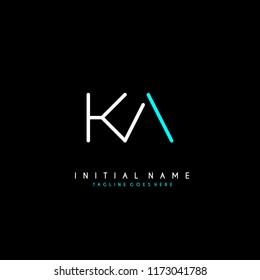 Initial K A minimalist modern logo identity vector