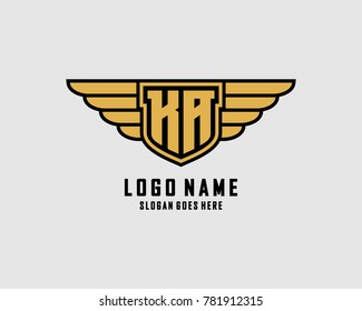 Initial K & A wing shield logo template vector
