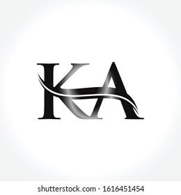 Initial KA letter Logo Design Black vector Template. Linked Letter KA logo Design