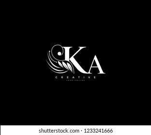 Initial KA letter luxury beauty flourishes ornament monogram logo