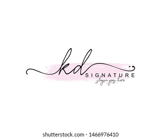 Initial KD beauty monogram and elegant logo design, handwriting logo of initial signature, wedding, fashion, floral and botanical with creative template.