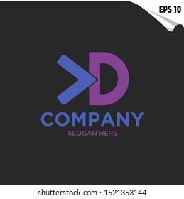 Initial KD, CD Logo monogram design template. Simple elegant style modern logo.