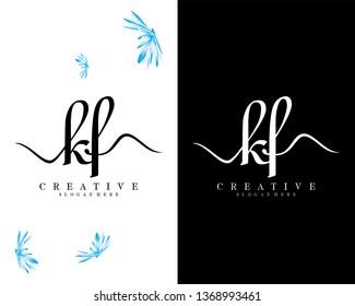 initial kf/fk handwriting logo template design vector