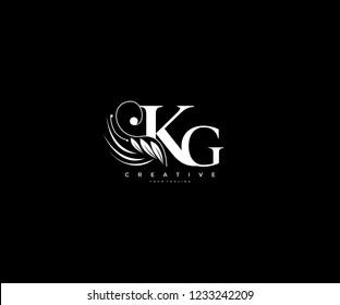 Initial KG letter luxury beauty flourishes ornament monogram logo