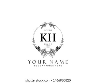 Initial KH beauty monogram and elegant logo design, handwriting logo of initial signature, wedding, fashion, floral and botanical with creative template.
