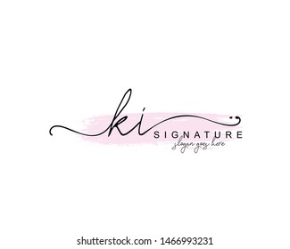 Initial KI beauty monogram and elegant logo design, handwriting logo of initial signature, wedding, fashion, floral and botanical with creative template.