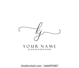 Initial KJ beauty monogram and elegant logo design, handwriting logo of initial signature, wedding, fashion, floral and botanical with creative template.