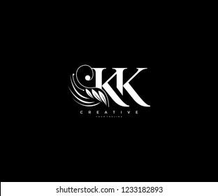 Initial KK letter luxury beauty flourishes ornament monogram logo