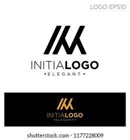 initial K,KM elegant logo template vector illustration. logo type, monoline.