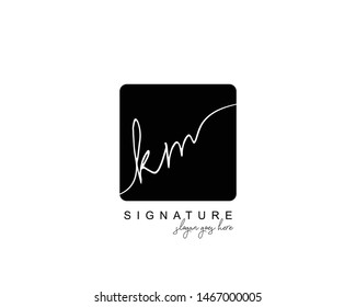 Initial KM beauty monogram and elegant logo design, handwriting logo of initial signature, wedding, fashion, floral and botanical with creative template.