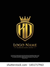 initial KO, KD letter with shield style logo template vector