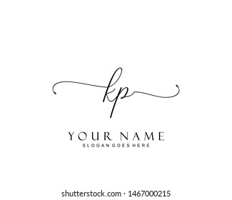 Initial KP beauty monogram and elegant logo design, handwriting logo of initial signature, wedding, fashion, floral and botanical with creative template.