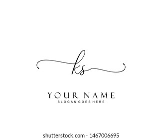 Initial KS beauty monogram and elegant logo design, handwriting logo of initial signature, wedding, fashion, floral and botanical with creative template.