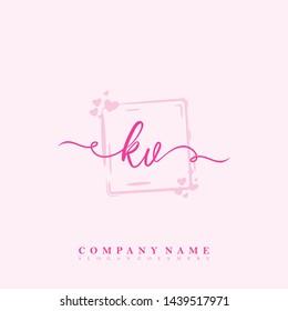 Initial KV beauty handwriting logo
