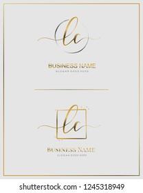 Initial L C LC handwriting logo vector. Letter handwritten logo template.