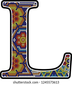 initial l with colorful dots abstract design with mexican huichol art style