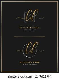 Initial L D LD handwriting logo vector. Letter handwritten logo template.