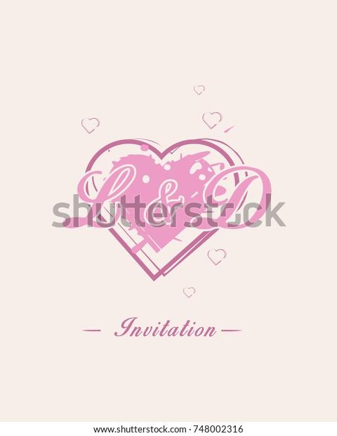 Initial L D Wedding Invitation Logo Stock Vector Royalty