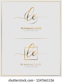 Initial L E LE handwriting logo vector. Letter handwritten logo template.
