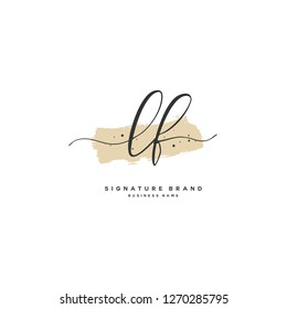 Initial L F LF handwriting logo vector. Letter handwritten logo template.