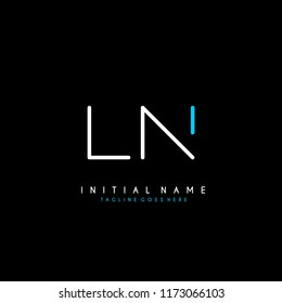 Initial L N minimalist modern logo identity vector