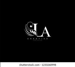 Initial LA letter luxury beauty flourishes ornament monogram logo