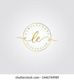 Initial LE beauty handwriting logo template vector