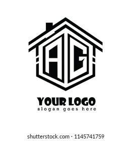 Initial letter A, G, AG house logo design, hexagonal shape