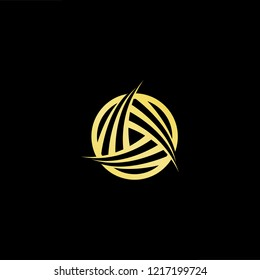 Initial letter AA AAA OA AO minimalist art logo, gold color on black background.