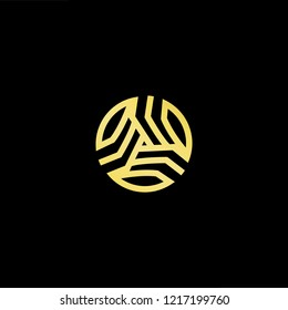 Initial letter A AA AAA OA AO minimalist art logo, gold color on black background.