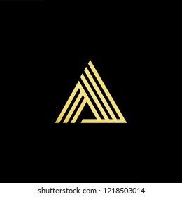 Initial letter AA AAAA minimalist art logo, gold color on black background.
