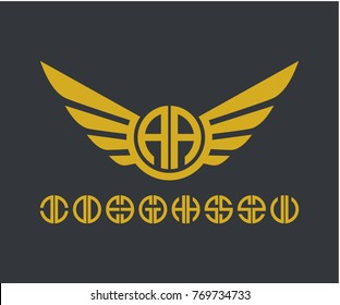 Initial letter AA circle with Wings icon logo design