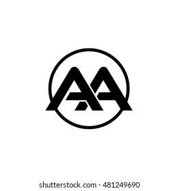 Initial letter aa linked circle uppercase monogram logo black.